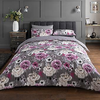 Inky Floral Grey Bedding Set