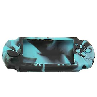 Protective cover for psp 3000 sony console silicone skin rubber case - light blue & black camo | zedlabz
