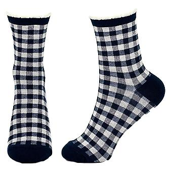Women's Navy Blue and White Check Picot Crew Socks