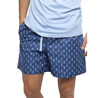 Cyberjammies 6455 Männer's Billy blau Paisley Druck Baumwolle gewebt Pyjama kurz