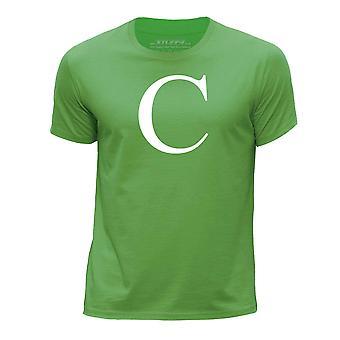 STUFF4 Boy's Round Neck T-Shirt/Alphabet Letter Initial C/Green
