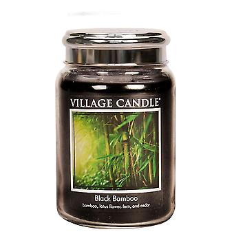 Village Candle 26oz Scented American Large Jar Candle with Double Wick Black Bamboo