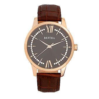 Bertha Prudence Leather-Band Watch - Brown
