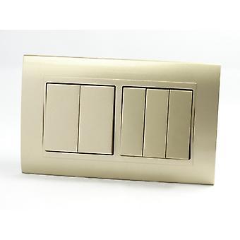Eu LumoS como luxo ouro arco plástico duplo quadro 5 Gang 2 maneira Rocker interruptores de luz