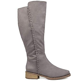 Brinley Co Comfort Dames Whipstitch Riding Boot Grey, 9 Extra Wide Calf US