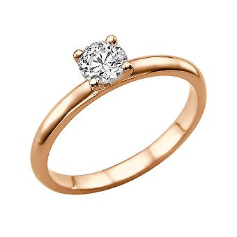 Moissanite Ring Forever One 1.00 CT 6.50MM 14K Rose Gold Solitaire Plain Classic