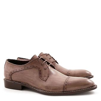 Handmade semi brogues derby shoes for men
