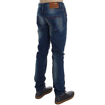 Blue wash cotton denim slim fit-jeans