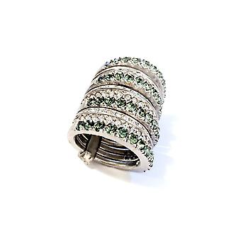 Giora Multiple Ring in Bronze With White and Green Swarovski Crystals Size 17