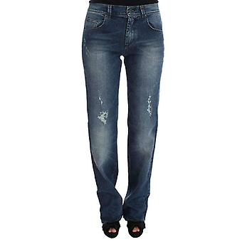 Blue Wash Cotton Blend Slim Fit Jeans -- SIG3587589