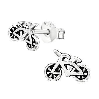 Bike - 925 Sterling Silver Plain Ear Studs - W20829x