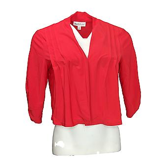 NorthStyle Women's Top Open Front Shrug w/Ruched Sleeve Detail Red