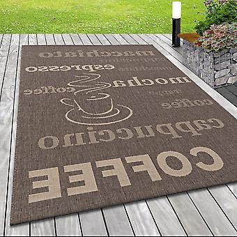 Moderne platte stof in-& Outdoor Rug Sisal Optics Terras Koffie in Bruin