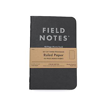 Field Notes Original 3 Pack Plain Black Notebooks