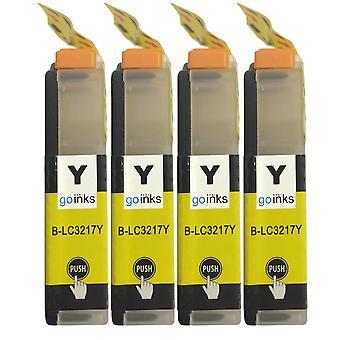 4 Cartucce inchiostro giallo per sostituire Brother LC3217Y Compatibile/non OEM da Go Inks