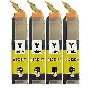 4 Gelbe Tintenpatronen ersetzen Brother LC3217Y Compatible/non-OEM by Go Inks