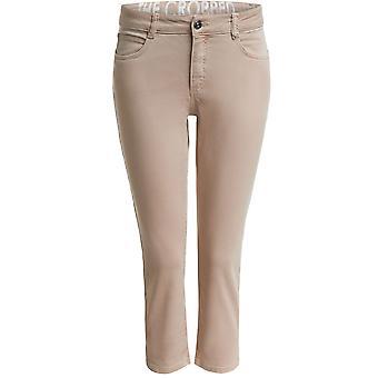 Oui Beige Cropped Jeans