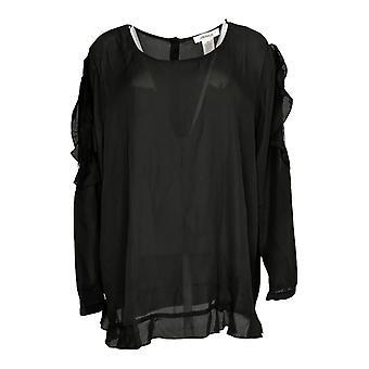 Masseys Women's Plus Top Ruffle-Trim Cold Shoulder Blouse Black