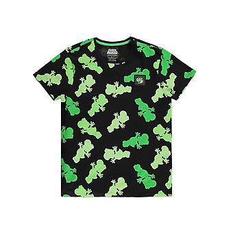 Män & apos; s Super Mario Yoshi AOP Svart Crew Neck T-shirt