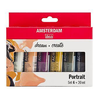 Amsterdam Acrylic Paint Portrait Colours Set 6 x 20ml