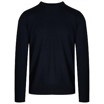 Pull en laine tricoté bleu marine Lagerfeld