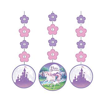 Unicorn Fantasy Party opknoping cutout card decoraties - 3 Pack
