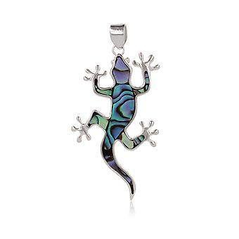 ADEN 925 Sterling Silver Abalone Mother-of-pearl Lizard Pendant Necklace (id 4487)