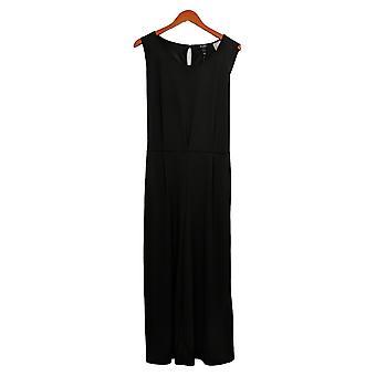 Du Jour Jumpsuits Cropped Wide Leg Knit w/ Tie Waist Black A366218