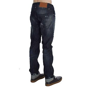 Blue Cotton Regular Straight Fit Jeans -- SIG3872837