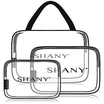 シャニクリアPVCトイレタリーとメイクアップキャリーオンバッグセット - ブラックトリム付きアソートサイズ旅行化粧品オーガナイザー - 3PCセット