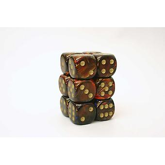 Chessex 16mm D6 Block of 12 - Scarab Blue Blood/gold