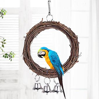 Wooden Stand Playing Rack, Swing Wood Ring For Parrot Bird Hanging Toys With