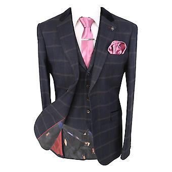 Men's Connall Navy Blue Slim Fit Tweed Check Retro Suit