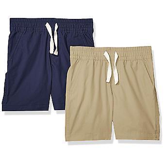 Spotted Zebra Boys' 2-Pack Pull-On Play Shorts, Khaki/Navy Small (6-7)
