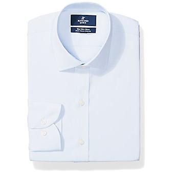 BUTTONED DOWN Men's Slim Fit Stretch Poplin Non-Iron Dress Shirt, Light Blue,...