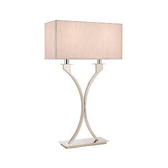 Interiors Vienna - 2 Light Table Lamp Polierte Nickelplatte mit Beige Shade, E27