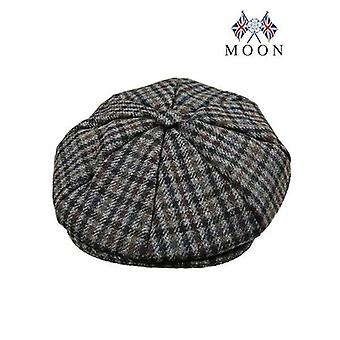 Slate Grey Dogtooth Check Abraham Moon 8-Piece Tweed Cap