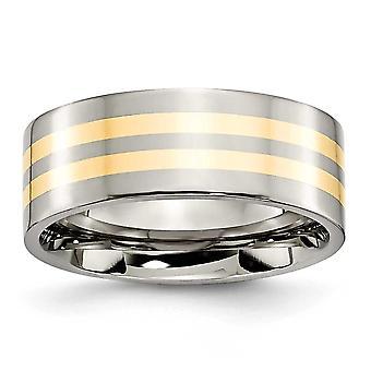 Titanium Flat Band kaiverrus 14k kultainlay 8mm kiillotettu bändi rengas korut lahjat naisille - rengas koko: 6-13