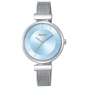 Pulsera de malla de acero inoxidable Pulsar señoras con reloj azul dial 50m (PH8411X1)