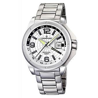Candino Swiss C4451-A Men's GMT Silver Tone Wristwatch