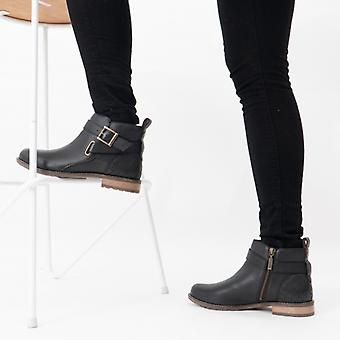 بربور جين السيدات الجلود الكاحل أحذية الأسود