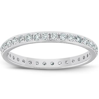 1/2ct Diamond Wedding Ring Womens Eternity Band 10k White Gold