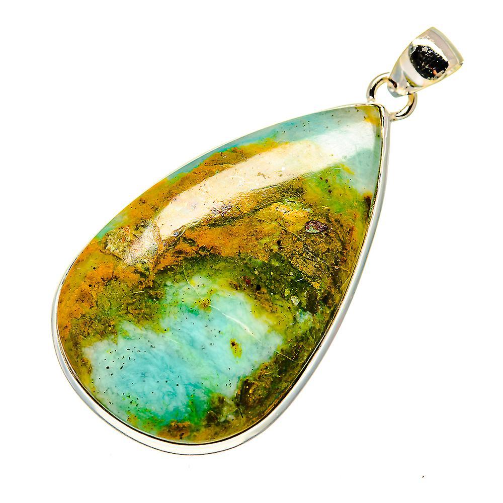 "Huge Peruvian Opal Pendant 2 1/2"" (925 Sterling Silver)  - Handmade Boho Vintage Jewelry PD739469"