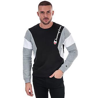 Heren's Champion Colour Block Sweatshirt in Zwart