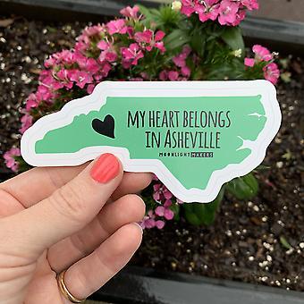 My Heart Belongs In Asheville Die Cut Sticker