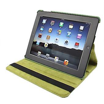 360 Grad drehbare PU Ledertasche mit Schlaf / Wake-up-Funktion & Halter für neues iPad (iPad 3) / iPad 2 / iPad 4, Olivgrün