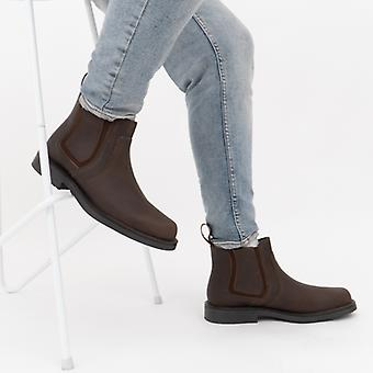 Roamers Alexander Mens Waxy Leather Chelsea Boots Brown