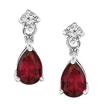 2.20 Karat Diamant & Ruby Örhängen