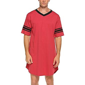 Men Cotton Casual Short Sleeve Long Nightshirt Soft Loose Nightwear Sleepwear