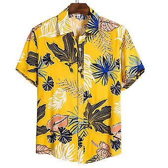 Sommer mann skjorte, menns etnisk trykte stativ krage, bomull lin stripe, kort